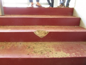– Already, the stairways have begun to crumble despite a lack of activity at the Kato Secondary School