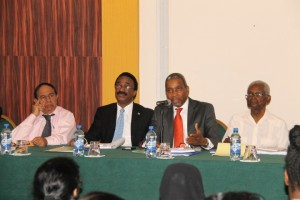 Left to Right: Chief Parliamentary Counsel, Cecil Durjohn; Attorney General and Minister of Legal Affairs, Basil Williams; State Asset Recovery Advisor, Brian Horne and SARU Director, Professor Clive Thomas.