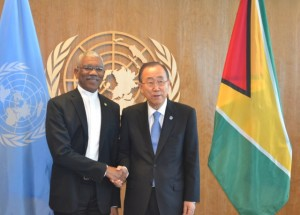 President David Granger and United Nations Secretary General, Ban Ki Moon.