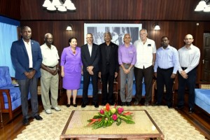 President David Granger led a meeting between the Central Government, the Municipality and the private sector at the Ministry of the Presidency today.  President at the meeting were(from left) Councillor Alfred Mentore, Chairman of the Finance Committee of the Georgetown Mayor and City Council, Mr. Oscar Clarke, Mayor of Georgetown, Mrs. Patricia Chase-Green, Minister of Business, Mr. Dominic Gaskin, Minister of Communities, Mr. Ronald Bulkan,  Mr. Christopher Fernandes, former Chief Executive Officer of John Fernandes Limited, former Chairman of the Private Sector Commission, Mr. Ramesh Persaud, Vice President of the Georgetown Chamber of Commerce and Industry and Mr. Vishnu Doerga