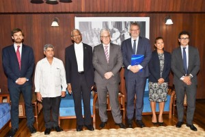 From L-R: EIB Investment Officer, Mr. Floris Vermeulen, Minister within the Ministry of Finance, Mr. Jaipaul Sharma, President David Granger, Vice President, Mr. Pin van Ballekom, Adviser to the Vice President, Ms. Malaya Zumel and Loan Officer, Mr. Angel Diez Fraile