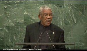 President David Granger addressing the 71st session of the United Nations General Assembly on September 20, 2016.