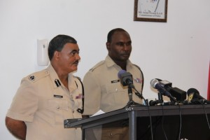 Acting Police Commissioner, David Ramnarine and Traffic Chief Dion Moore.