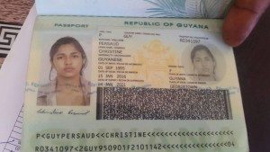 Passport found in possession of Anjanie Boodnarine n the name of Christine Persaud. (RD Productions photo)