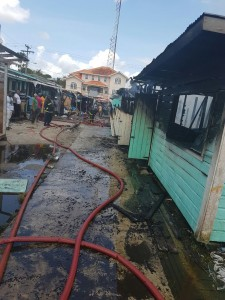 A number of the stalls that were destroyed by fire at Cool Breeze Landing entrance, Bartica.