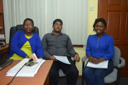 From left to right: Consumer and Competition Affairs Commission (CCAC) Director – Dawn Holder- Alert, Head, Consumers Affairs Unit – Haroon Khan and Head, Competition Policy Unit (ag)– Lusiean Mingo