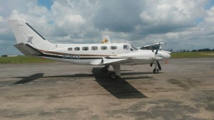 The illegal aircraft currently at Air Station London, Guyana Defence Force Air Corps.