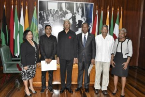The Public Procurement Commissioners: from left: Mrs. Carol Corbin, Mr. Sukrishnalall Pasha, President David Granger, Mr. Ivor Burnette English, former Minister of Labour, Mr. Nanda Kishore Gopaul and Ms. Emily Dodson at the Ministry of the Presidency.