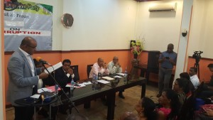 Opposition Leader, Bharrat Jagdeo addressing a PPPC-organised forum on corruption at Sleep Inn, Brickdam, Georgetown.