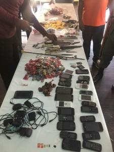 Knives, improvised weapons and cellular phones were among the items Joint Services Officers found during operation Safe Guard at the Georgetown Prison, this morning.