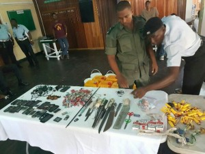 Joint Services members going through the contraband seized this morning at the Georgetown Prison.