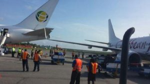The Fly Jamaica aircraft's cone knocked off by Caribbean Airline's right wing.