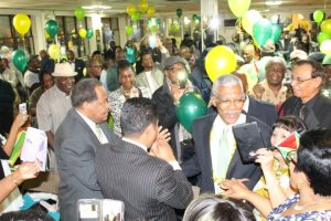 Then Opposition Leader and Presidential Candidate, David Granger mingling with the Guyanese Diaspora in New York ahead of the May, 2015 General and Regional Elections.