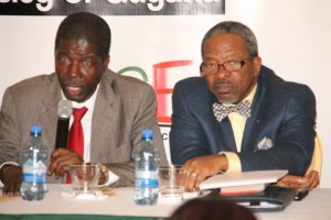 Organisation of American States (OAS) Representative in Guyana, Jean Ricot Dormeus (left) and University of Guyana Vice Chancellor, Professor Ivelaw Griffith.