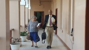PPP-Civic Parliamentarian, Juan Edghill (right) accompanied by his Legal Adviser, Bibi Shadick as they left the Privileges Committee hearing at Parliament Building.