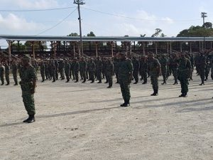 Guyana Defence Force soldiers at D'urban Park at the end of the Route March to mark the culmination of activities to mark the army's 51st anniversary.