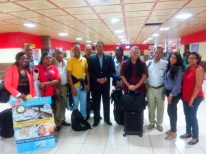Guyana's Ambassador to Cuba, Halim Majeed (centre) flanked by representatives of Guyana's private sector and government agencies in Havana, Cuba.