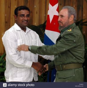 Cuban President Fidel Castro (R) shakes hands with Guyana Cooperative Republic's President Bharrat Jagdeo (L), Wednesday, 01 February 2006, at the Revolution Palace in Havana, Cuba, during his official welcoming ceremony.  EPA/ALEJANDRO ERNSTO