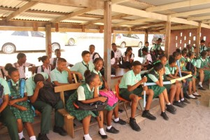 Students at the commissioning of the rehabilitated Kingston Practical Institute