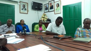 Ministers responsible for Labour, Keith Scott and Volda Lawrence at the head table. Also waiting on RUSAL were General Secretary of the Guyana Bauxite and General Workers' Union, Lincoln Lewis and union President, Leslie Gonsalves.