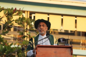 Dr. Vincent Adams addressing the 50th Convocation of the University of Guyana on November 12, 2016.