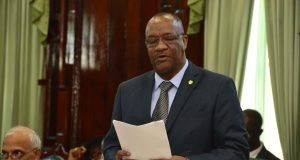 Minister of State, Joseph Harmon debating the 2017 National Budget.