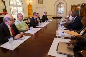 FLASH BACK: CARICOM chairman, Barbados Prime Minister Freundel Stuart (sitting right, at centre) told Venezuela's Vice President Jorge Arreaza (directly opposite Stuart) that Barbados and CARICOM stand by Guyana on the maintenance of its territorial integrity.