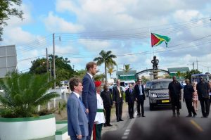 Prince Harry inspecting the Guard of Honour near the Independence Arch, Brickdam where he laid a wreath. Guyana attained independence from Britain on May 26, 1966.