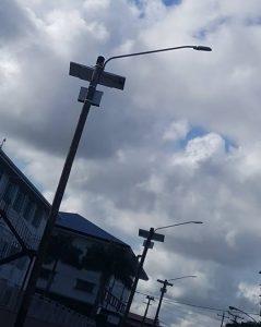 Solar-powered street lights on Thomas Street, Georgetown.
